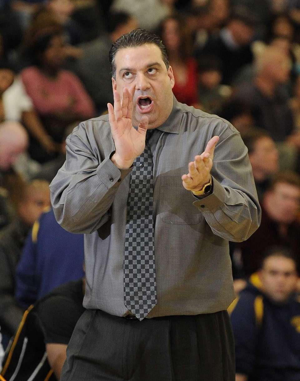 Uniondale's head coach Tom Diana reacts during action