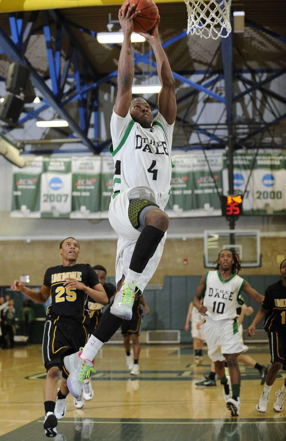 Farmingdale's Dalique Mingo sinks a shot against Uniondale