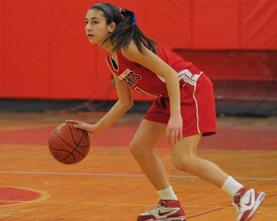 Floral Park's Jeanna Orfanos dribbles upcourt during the