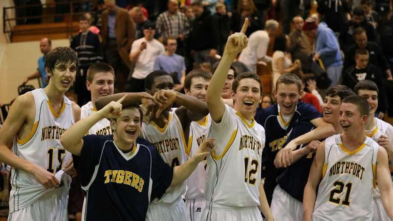 Northport players celebrate their win over Deer Park.