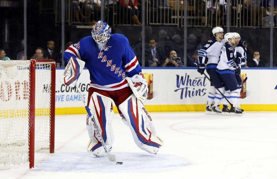 Henrik Lundqvist of the New York Rangers looks