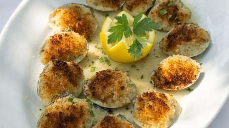 Littleneck baked clams served at Mateo's in Huntington