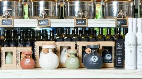 A variety of extra virgin olive oils on