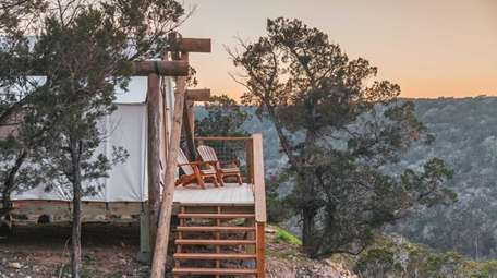 The view from a glamping tent.