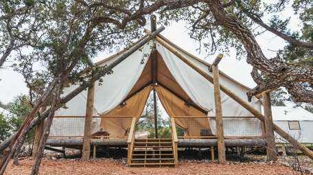 The exterior of a glamping tent.