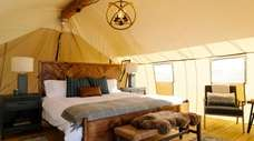 The interior of a glamping tent.