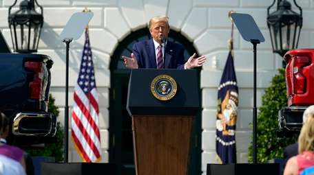 President Donald Trump speaks during an event on