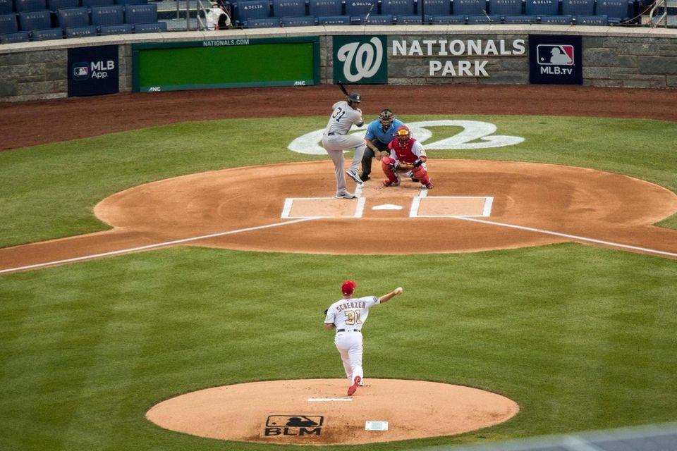 Washington Nationals starting pitcher Max Scherzer throws the