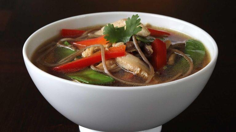 Soba (buckwheat) noodles with chicken, shiitake mushrooms, snow