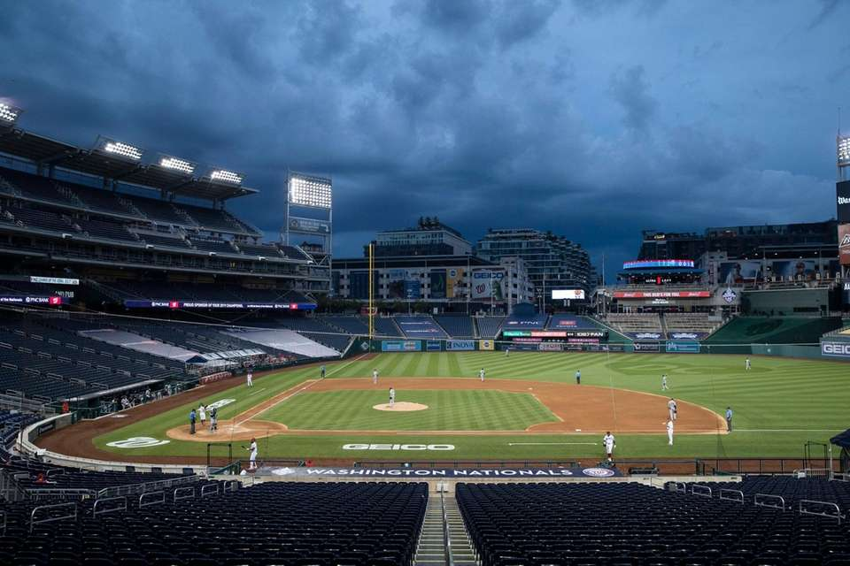 Clouds move in during the fourth inning of