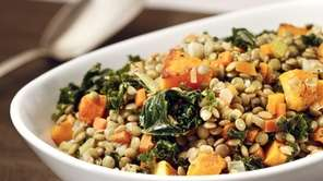 Lentils with kale and butternut squash.
