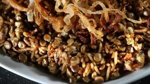 Mejadra is a Middle Eastern treat featuring lentils.