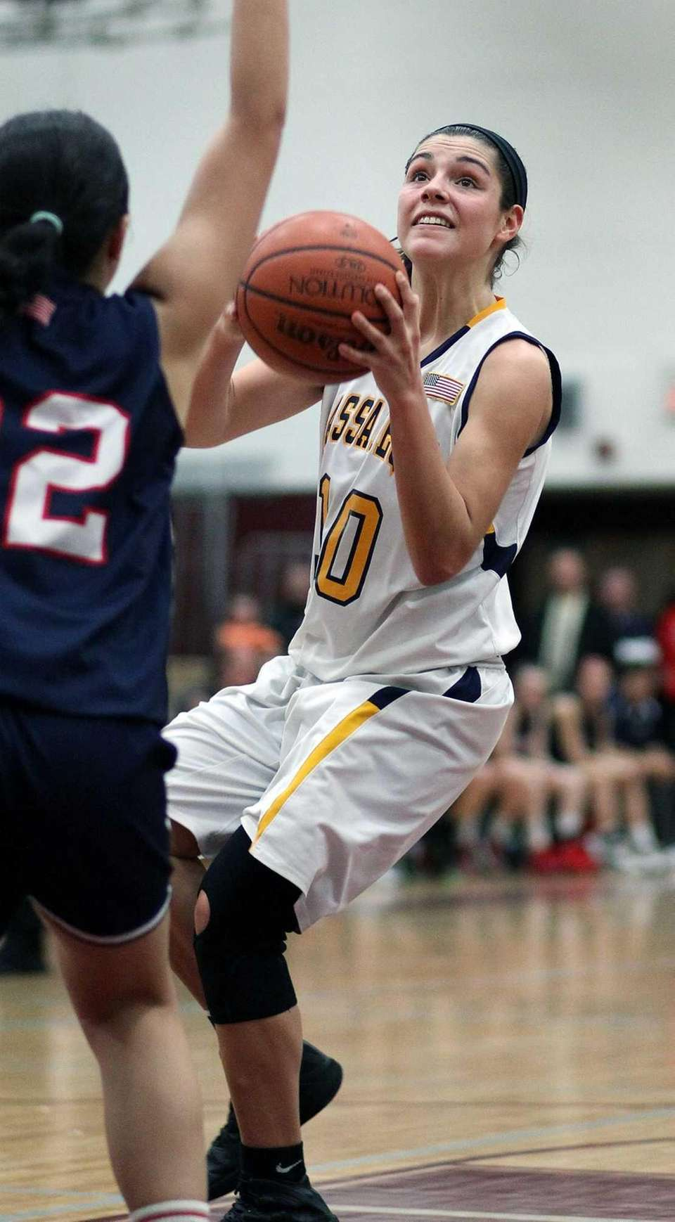 Massapequa's Olivia Batista looks for shot over MacArthur's