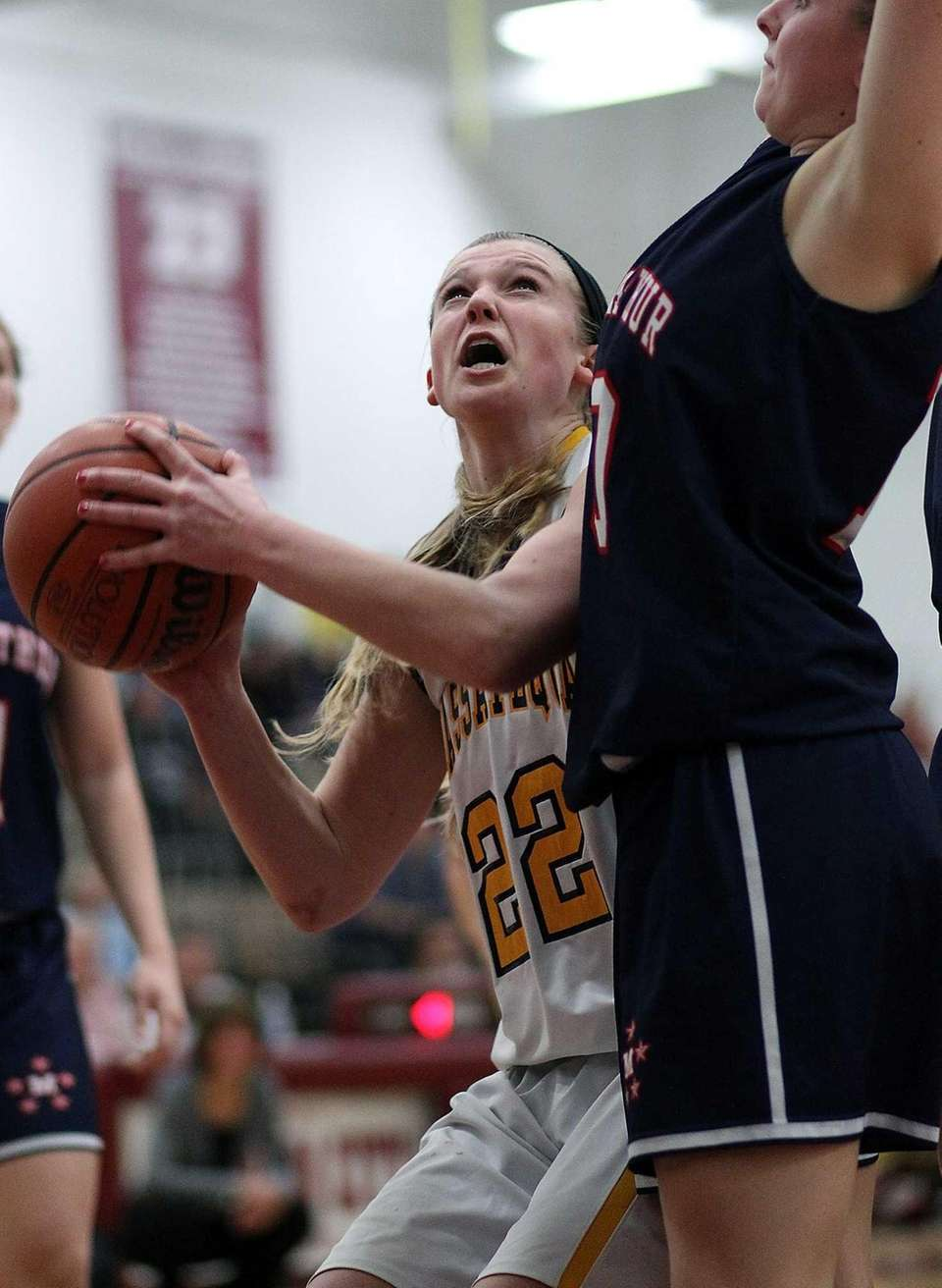 Massapequa's Lauren Van Buren looks for the shot