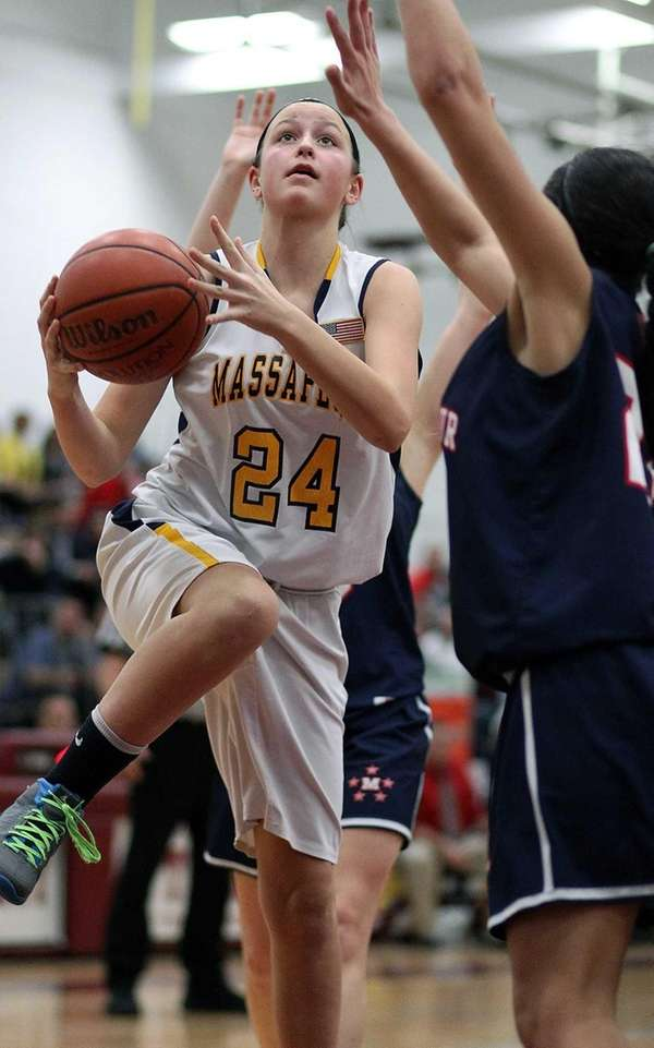 Massapequa's Melanie Hingher looks for shot over MacArthur's