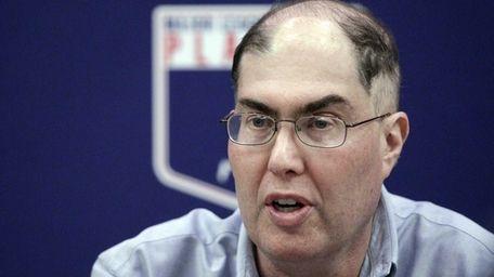 Baseball union head Michael Weiner speaks during a