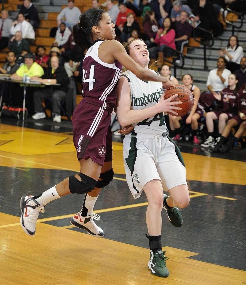 Harborfields' Bridgit Ryan is fouled by Southampton's Paris