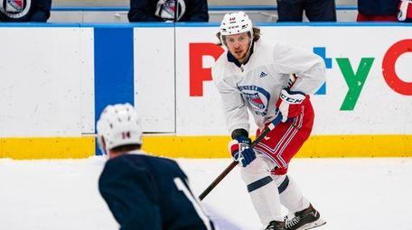 Rangers forward Artemi Panarin skates during a scrimmage