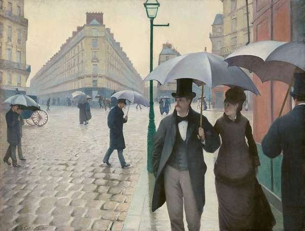 "Gustave Caillebotte's 1877, oil-on-canvas work ""Paris Street; Rainy"