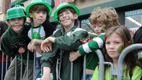 Children celebrate at a local St. Patrick's Day