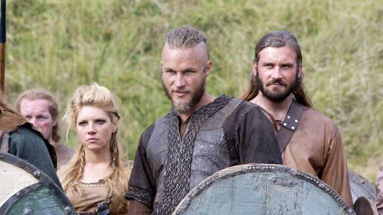 From left, Katheryn Winnick, Travis Fimmel and Clive