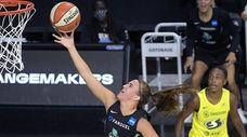 New York Liberty forward Sabrina Ionescu goes up