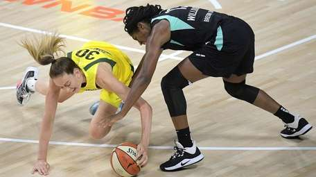 Seattle Storm forward Breanna Stewart and the Liberty's