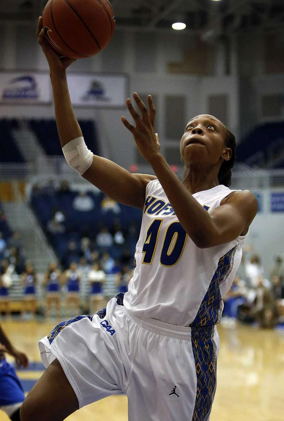 Hofstra Pride forward Anma Onyeuku goes up for