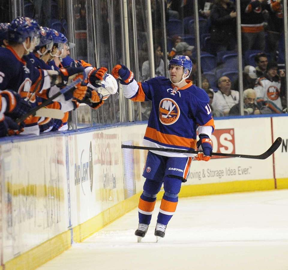 Lubomir Visnovsky of the Islanders celebrates his goal