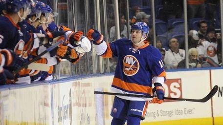 Lubomir Visnovsky of the Islanders celebrates his goal