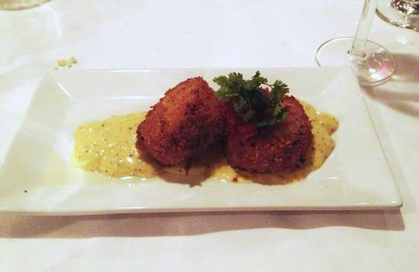 At Om Bistro in Great Neck, trout cakes