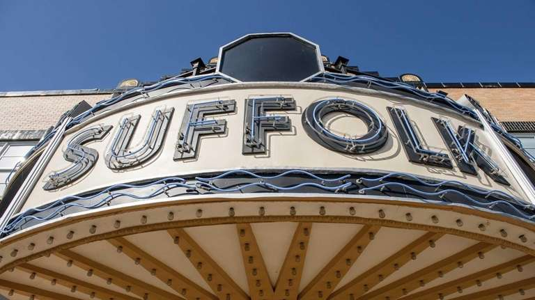 The marquee of the newly refurbished Suffolk Theater
