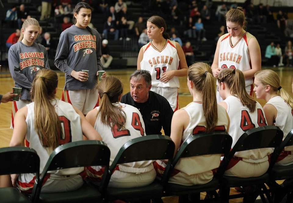 Sachem East head coach Matt Brisson speaks to