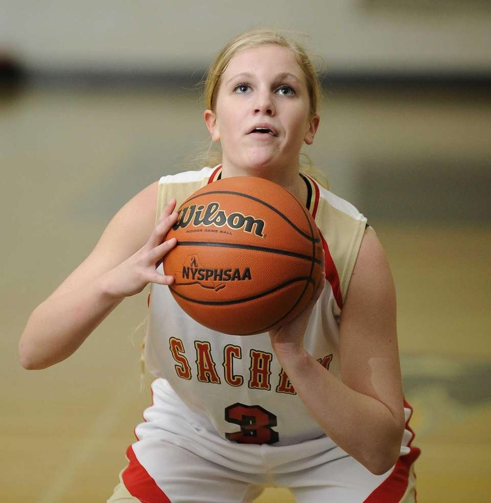 Sachem East's Christina Schretzman shoots a free throw