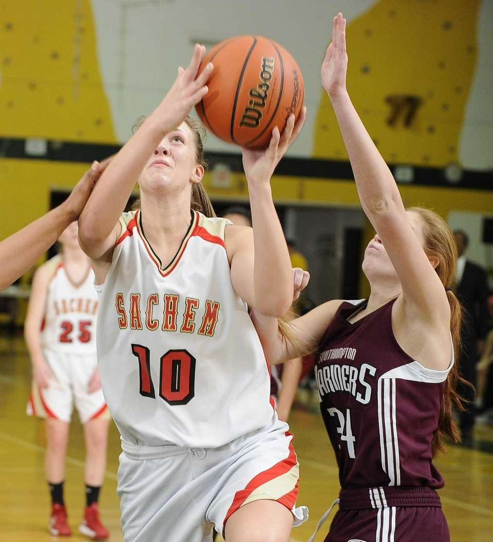 Sachem East's Kathleen Everson shoots a layup past