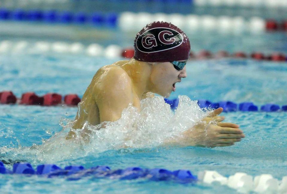 Garden City's Joseph Lozano swims in the preliminaries