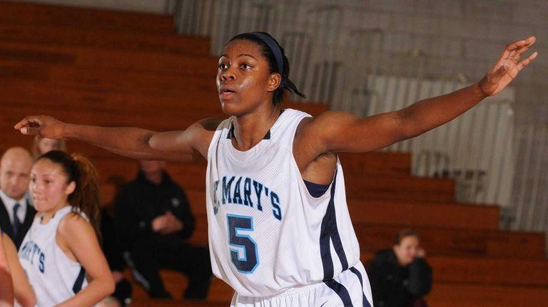 St. Mary's Alyssa James defends an inbounds pass