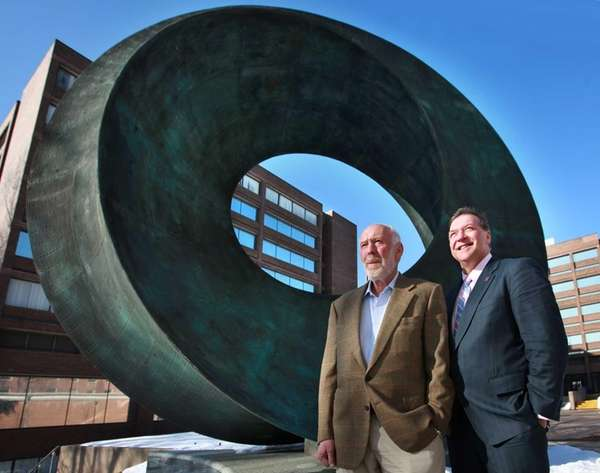 Stony Brook University donor Jim Simons, left, and