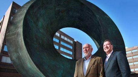 Stony Brook University donor Jim Simons, left, and