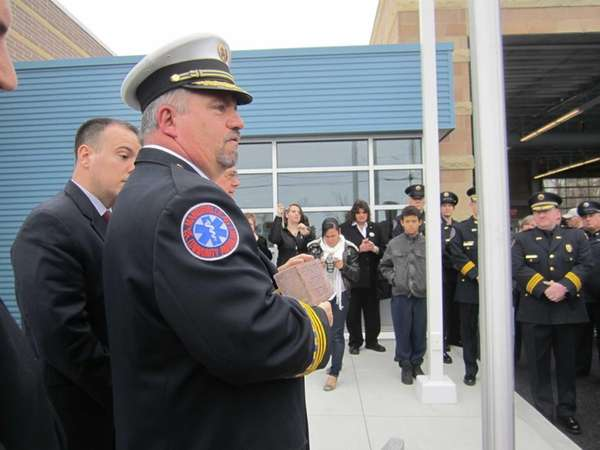 Manorville Community Ambulance Chief Joseph W. Kukral dedicates