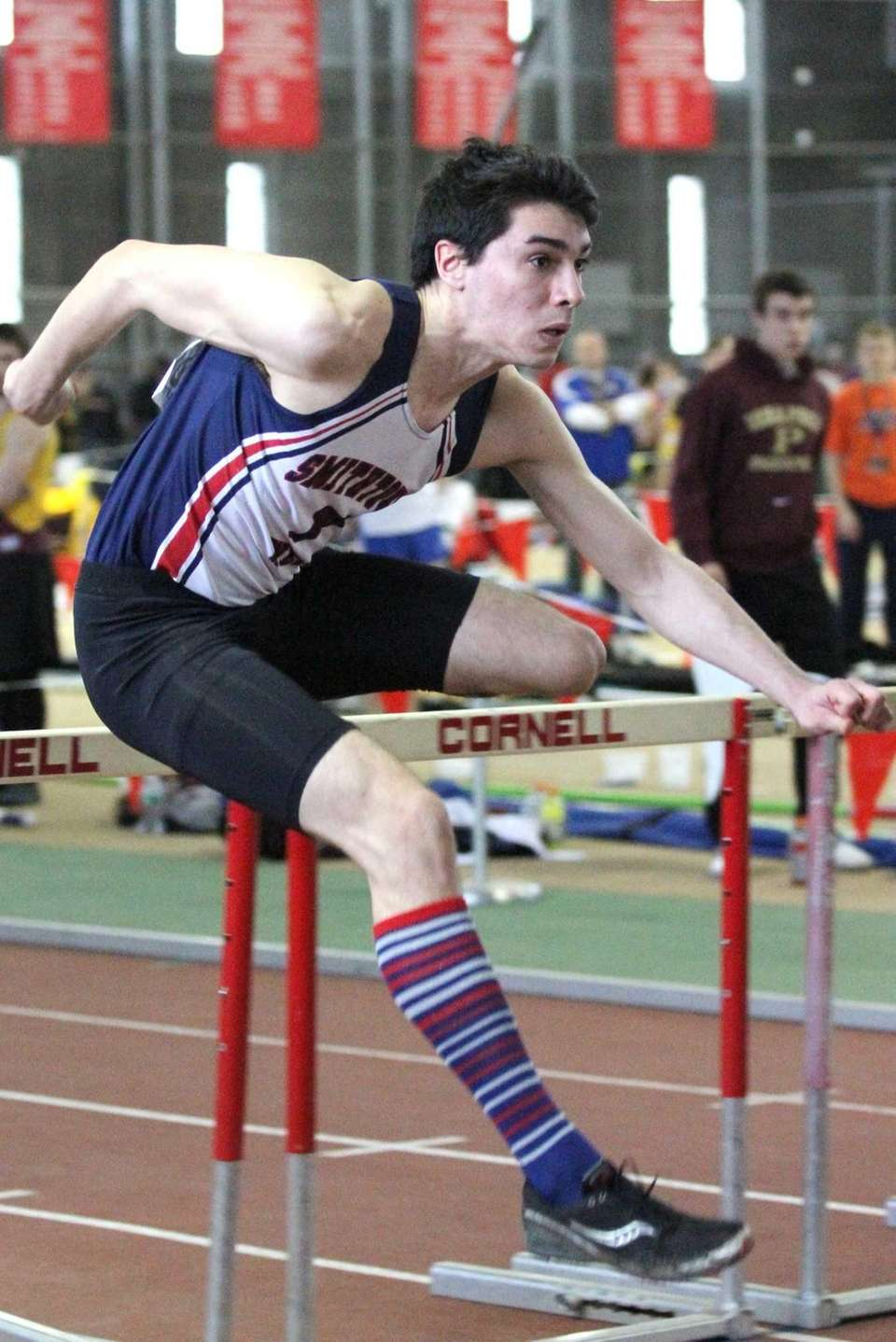 Smithtown West's Devin Mirenda competes in the 55-meter