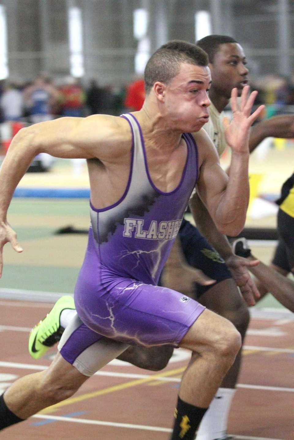 Sayville's Christopher Belcher heads to the finish line