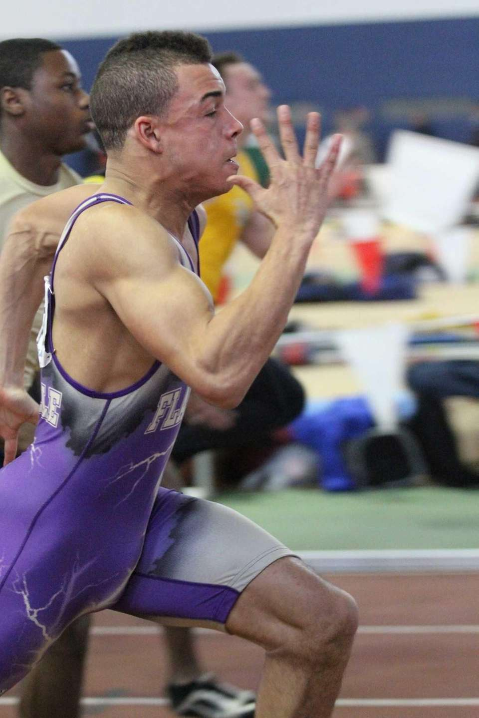 Sayville's Christopher Belcher competes in the 55 meter
