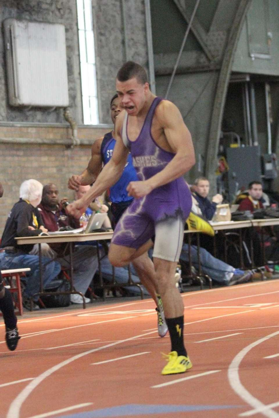 Christopher Belcher of Sayville celebrates his first place