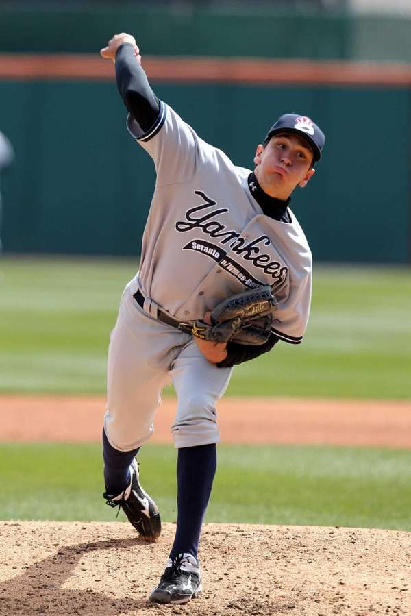 Empire State Yankees pitcher Pat Venditte during a