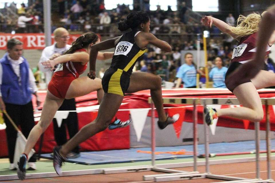Uniondale's Crystal Green competes in the 55 meter