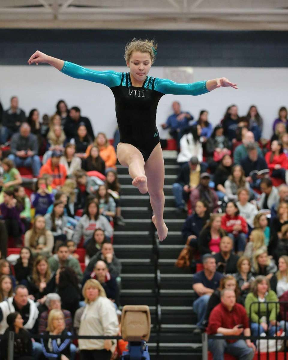 Bethpage's Alyssa Firth performs on the Balance Beam