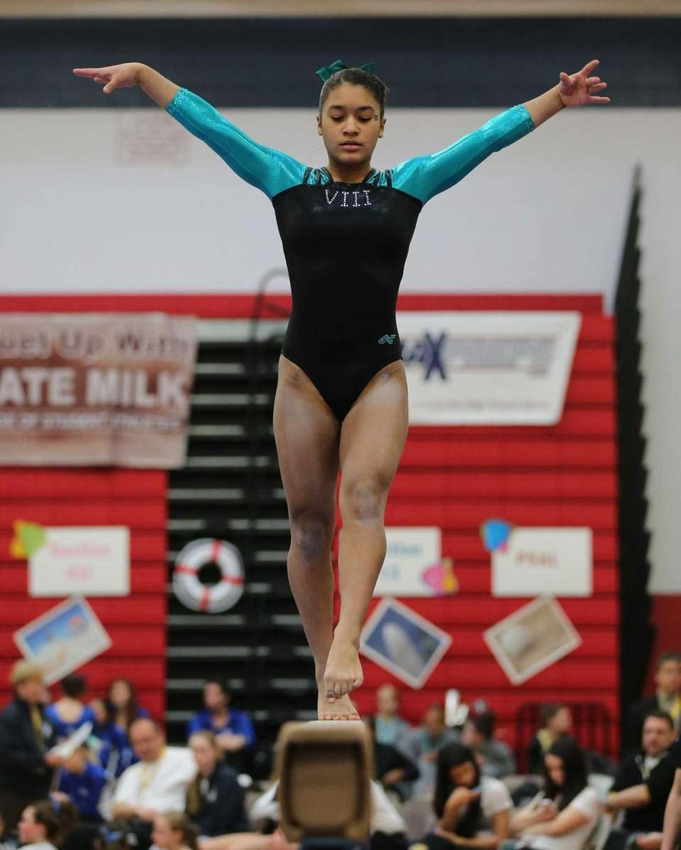 Plainview's Jessica Lopez competes in the Balance Beam