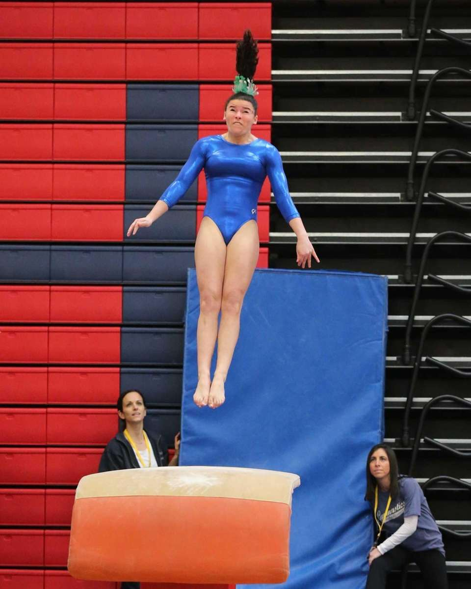 Ward Melville's Cydney Crasa competes in the Vault