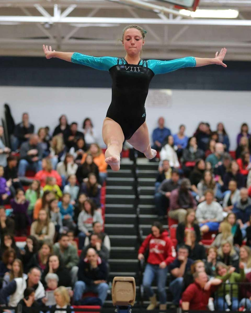 Bethpage's Jamie Kaletcher performs on the Balance Beam